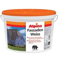 Краска акриловая Альпина Fassadenweiss B3,водоэмульсионная, 9,4 л.