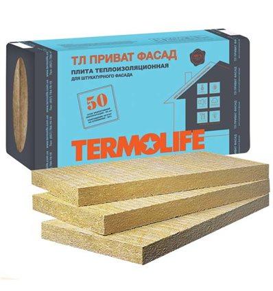 БАЗАЛЬТОВАЯ ВАТА ТЕРМОЛАЙФ ПРИВАТ ФАСАД ПЛ. 115КГ/М3 50ММ Х 1 Х 0,6М