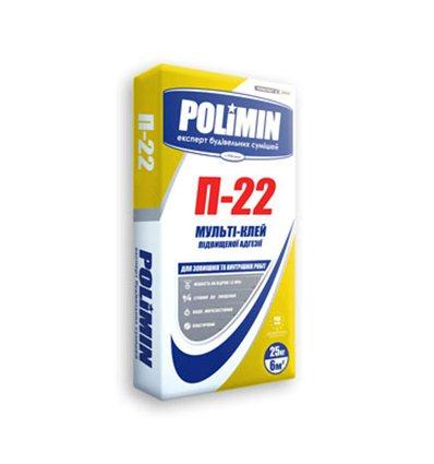Клей для плитки, гранита Полимин П-22 белый, 25кг