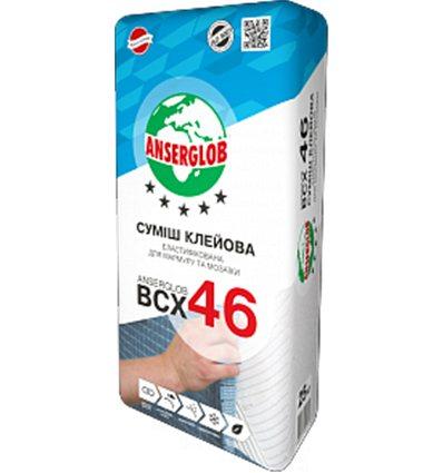 Клей для плитки, мрамора Ансерглоб ВСХ- 46 эластичный белый, 25 кг