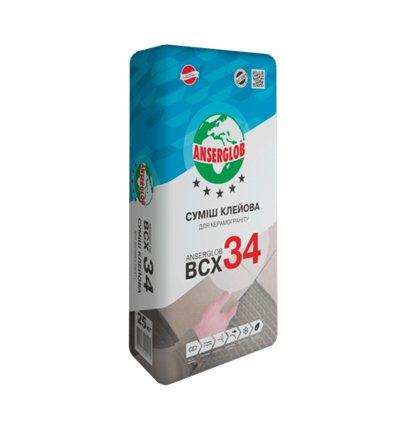 Клей для плитки, керамогранита Ансерглоб BCX-34 , 25кг