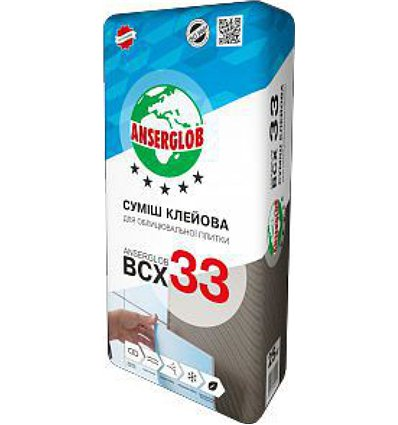 Клей для плитки Ансерглоб BCX-33 универсальный, 25 кг