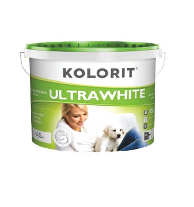 Краска Колорит глубокоматовая UltraWhite ультра белая (класс Эко), 10л