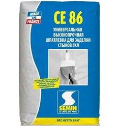 Шпаклёвка Семин СЕ-86 для стыков ГКЛ трещиностойкая, 25кг
