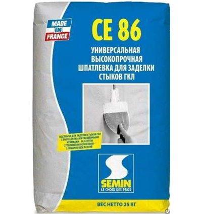 Шпаклёвка SEMIN СЕ-86 для стыков ГКЛ трещиностойкая, 25кг