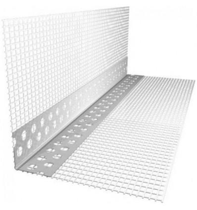 Угол перфорированный алюминиевый со стеклосеткой 7х7см, 3м Премиум