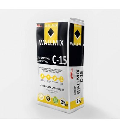 Wallmix C-15 штукатурка цементная для внутренних и наружных работ, 25кг